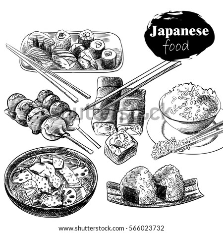 set of hand drawn japanese food