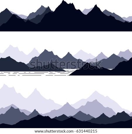 set of hand drawn landscape with silhouette  mountain peaks