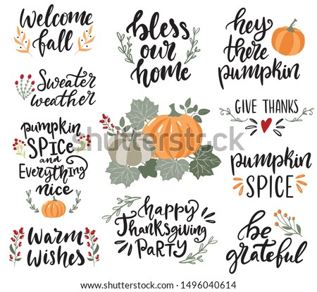 Set of hand drawn lettering fall, autumn and Thanksgiving quotes and pharses for cards, banners, posters design. Warm wishes, bless our home, give thanks, be grateful