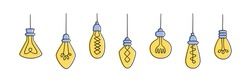 Set of Hand drawn Light Bulbs. Collection of different yellow loft lamps in doodle style. Isolated vector objects on white background