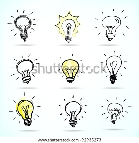 Set of Hand-drawn light bulbs, symbol of ideas