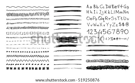 Set of hand drawn line borders, scribble strokes, handwritten font and design elements isolated on white. Doodle style brushes. Monochrome vector eps8 illustration.