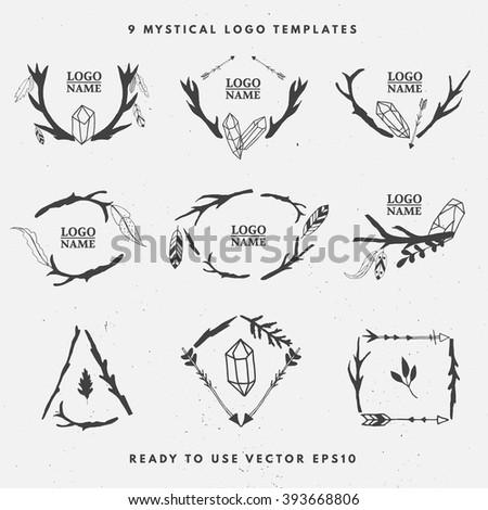 set of hand drawn logo