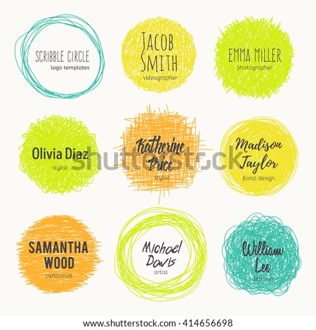 Set of hand drawn logo templates. Sketched style. Vector set of scribble circles. Decorative round frames for your design.