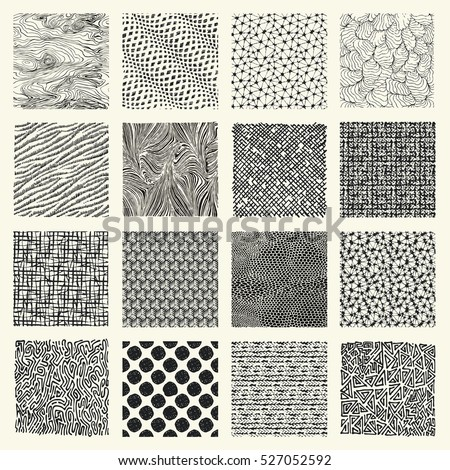 stock-vector-set-of-hand-drawn-marker-and-ink-patterns-simple-vector-scratch-textures-with-dots-strokes-and