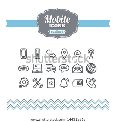 Set of hand drawn mobile icons