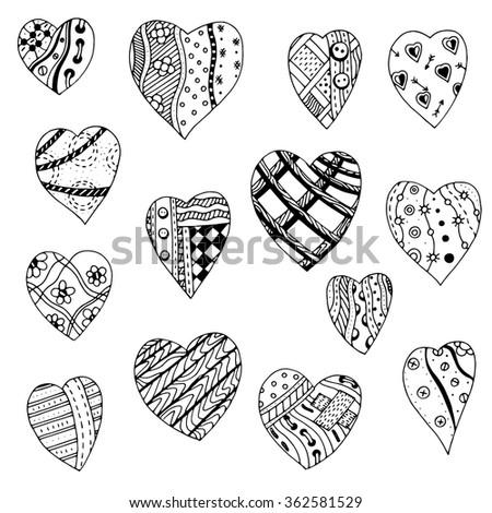 set of hand drawn monochrome
