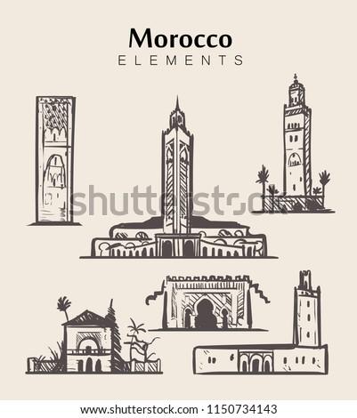 Set of hand-drawn Morocco buildings.Morocco sketch vector illustration.Hassan II Mosque,Marrakech.