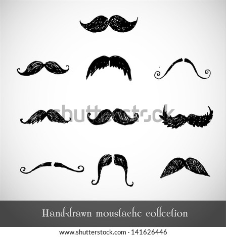 set of hand drawn moustaches