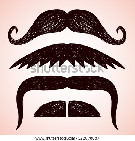 Set of hand drawn mustache.