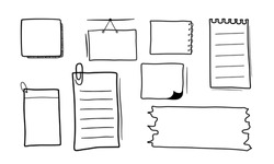 Set of hand drawn note paper.
