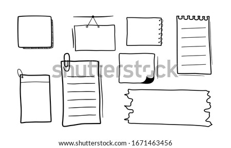 Set of hand drawn note paper.  Stock photo ©