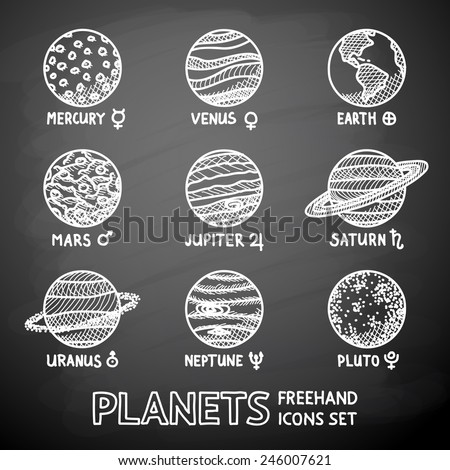 Royalty Free Set Of Hand Drawn Planet Icons With 245341003 Stock