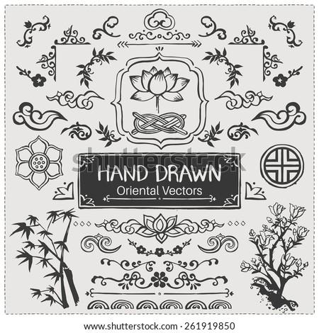 set of hand drawn oriental