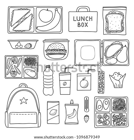 Set of hand drawn outline packed lunch boxes isolated on white background.