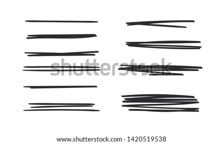 Set of hand drawn paint object. Abstract doodle lines, pencil drawing stripes for design use. Black elements on white background Сток-фото ©