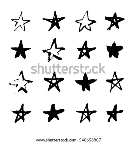 Set of hand drawn paint object for design use. Acid colors on black background. Abstract brush drawing. Vector art illustration grunge stars