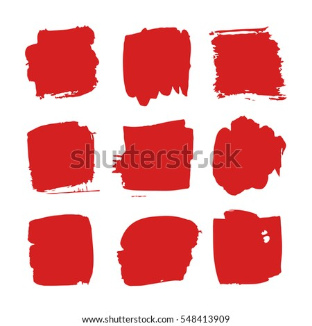 Set of hand drawn paint object for design use. Red on white background. Abstract brush drawing. Vector art illustration grunge square