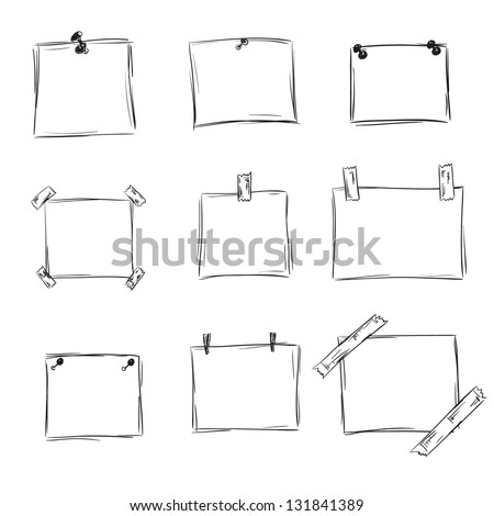 Set of hand drawn paper notes in vector