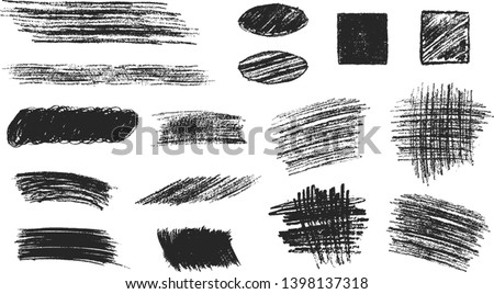 Set of hand drawn pencil scribble frames. Edge torn hatch box background. Vector isolated rough textures.