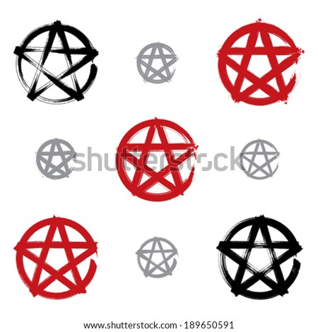 set of hand drawn pentagram