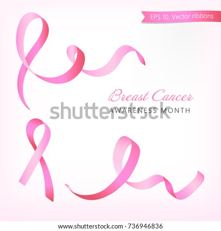 Set of hand drawn pink ribbons, breast cancer awareness symbols on pink background. EPS 10 vector illustration.