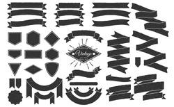 Set of Hand drawn ribbons / banners. Hand drawn Badge, banner, ribbon, flag, sunburst design element. Vector illustration.