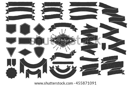 Set of Hand drawn ribbons / banners. Hand drawn Badge, banner, ribbon, flag, sunburst design element. Vector illustration.