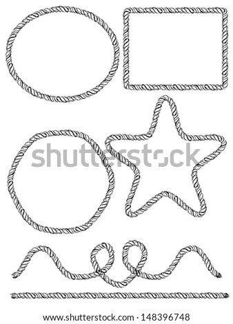 Set of hand drawn rope frames. Vector illustration - stock vector