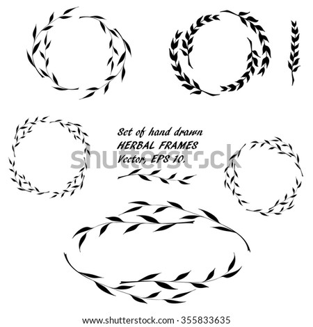 set of hand drawn round floral