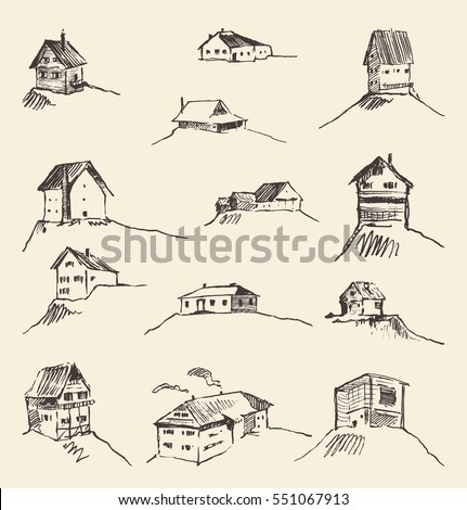 set of hand drawn rural houses  ...