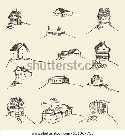 Set of hand drawn rural houses, vector illustration