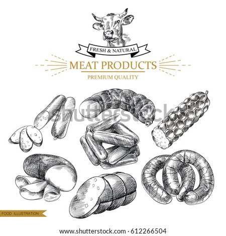 Set of hand drawn sausages isolated on white background. Meat products sketch elements. Retro hand-drawn smoked and boiled sausages vector illustration. Great for menu, poster, banner, voucher, coupon