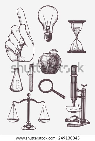 set of hand drawn science...