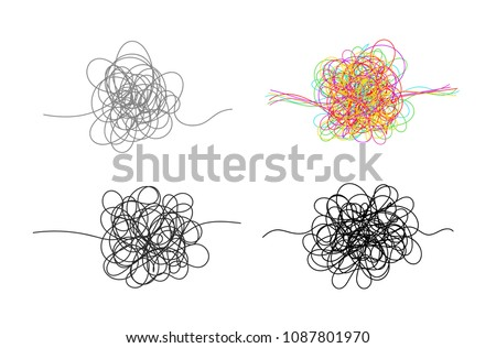 Set of hand drawn scrawl sketch. Freehand drawing. Black and white and color abstract scribbles, chaos doodles. Vector illustration. Isolated on white background
