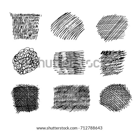 Set of hand drawn scribble symbols isolated on white.
