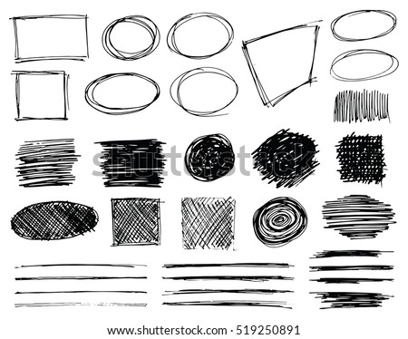 Set of hand drawn scribble symbols isolated on white. Doodle style sketched frames, strokes, shaded and hatched badges and bubble shapes. Monochrome vector eps8 design elements.