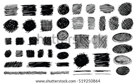 Shutterstock Set of hand drawn scribble symbols isolated on white. Doodle style sketches. Shaded and hatched badges and bubble shapes. Monochrome vector eps8 design elements.