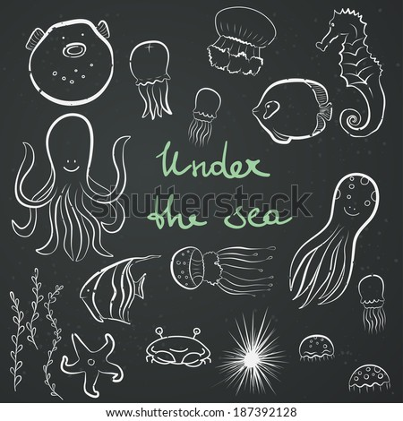 set of hand drawn sea dwellers