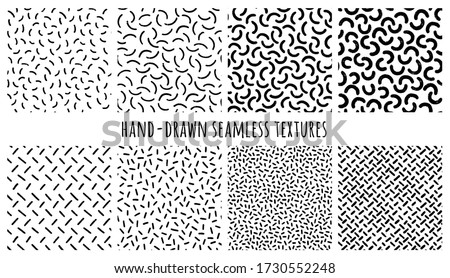 Set of hand-drawn seamless black and white textures with Memphis semicircles and uneven strokes. Vector patterns.
