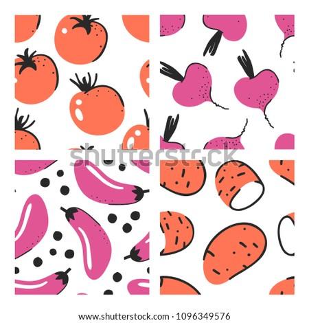 Set of hand drawn seamless pattern with vegetables. Vector artistic tomato, beet, eggplant, potato. Summer illustration vegeterian food