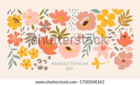 Set of hand drawn shapes and doodle design elements. Exotic jungle leaves, flowers and plants. Abstract contemporary modern trendy vector illustration. Perfect for posters, instagram posts, stickers.