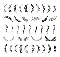 Set of hand drawn silhouette tree branches with laurel, oak and olive foliate. Vector illustration for your frame, border, ornament design, wreaths depicting an award, heraldry, nobility, emblem, logo