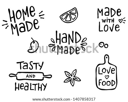 Set of hand drawn simple kitchen phrases about food and cooking - hand made, home made, made with love, tasty and healthy.  Prints for menu, restaurants or cafe, or separate elements. Ink, pen outline Photo stock ©