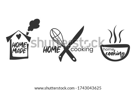 Set of hand drawn simple kitchen phrases - homemade,with love, home cooking, cooked with love. Badges, labels and logo elements, retro symbols for bakery shop, cooking club, cafe, or home cooking. Photo stock ©
