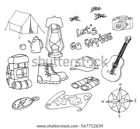 Set Of Hand Drawn Sketch Camping Equipment Symbols And Icons Doodle Elements Vector Illustration
