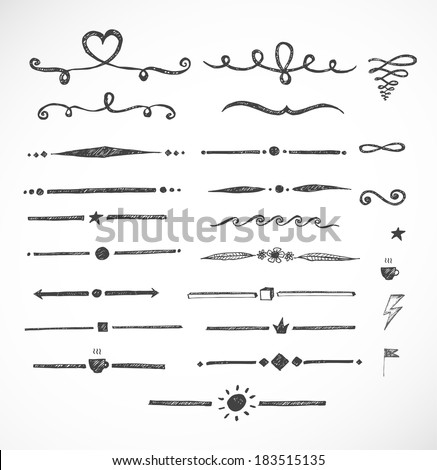 Set of hand-drawn sketch dividers isolated on white. Vector illustration.