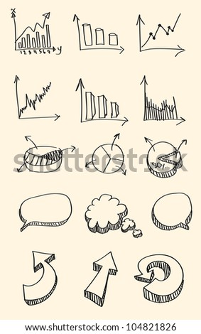 Set of hand drawn sketch of business graph,word bubble,arrow