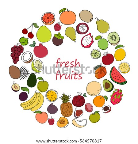 Set of hand drawn sketch style ripe and fresh fruits. Collection of colorful fruit icons. Variety of tropical fruits and berries. Vegan food concept