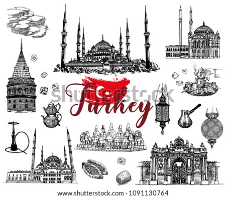 Set of hand drawn sketch style Turkey related objects isolated on white background. Vector illustration.